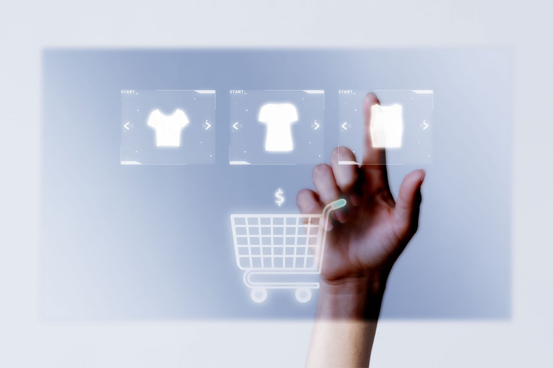 Person adding clothes to cart closeup for online shopping campai
