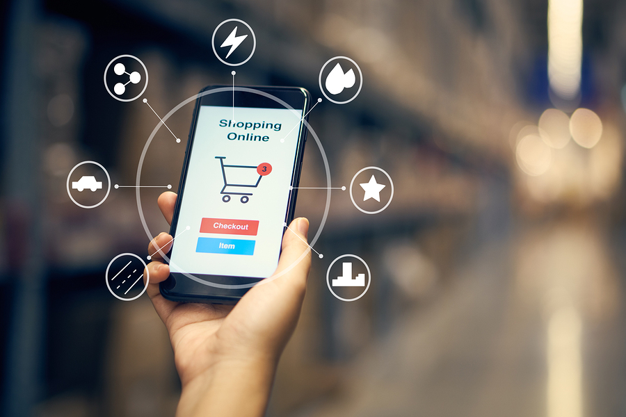 Infographics Of Online Shopping With Smartphone And Shopping Bag